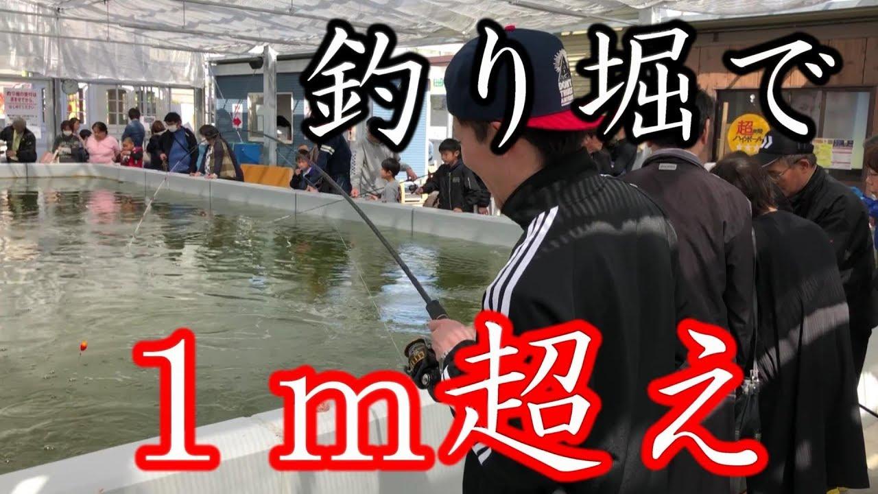 【超巨大】釣り堀で1m超えの化け物が釣れた